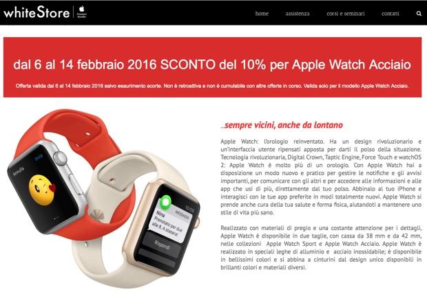 whiteStore apple watch acciaio