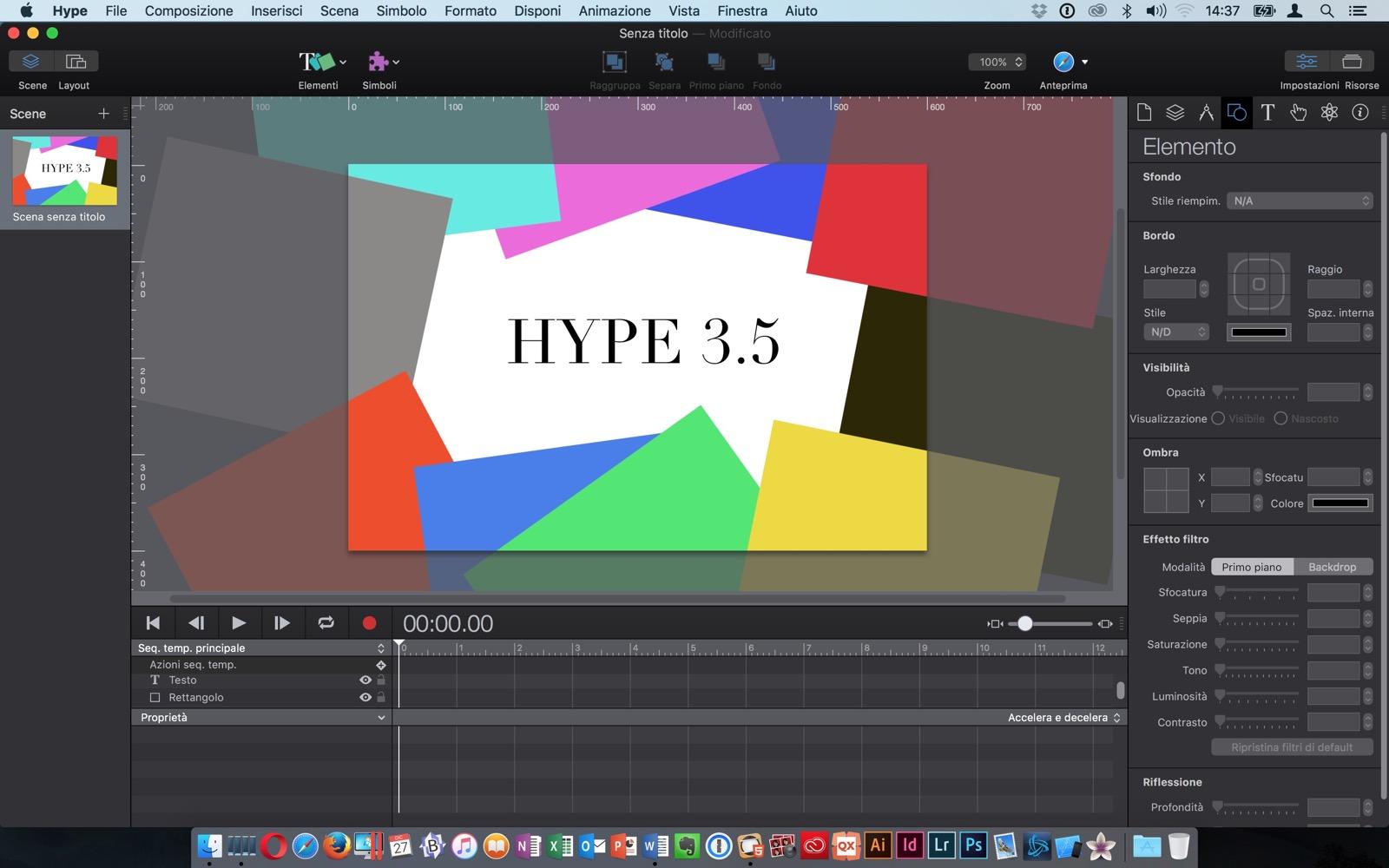 L'interfaccia di Hype 3.5, qui in versione Pro