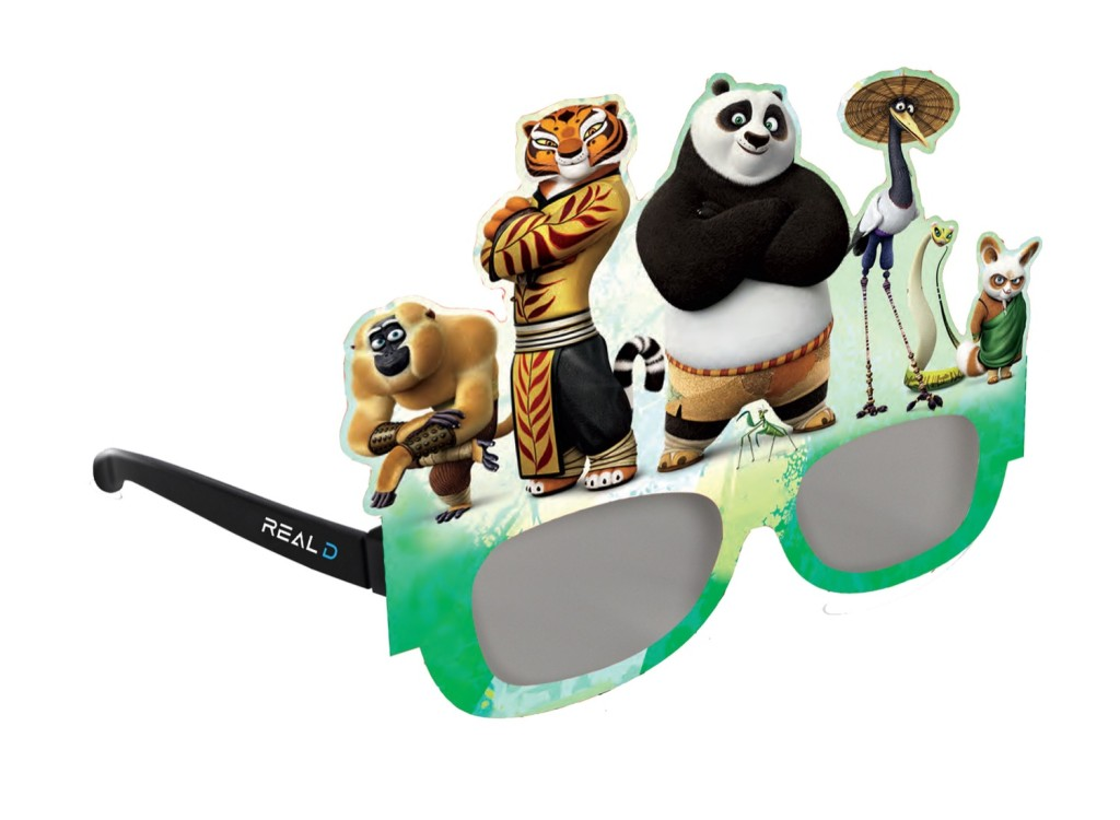 un esempio di personalizzazione degli occhiali per bambini, qui con i personaggi di Kung Fu Panda