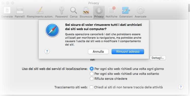 Ripristino Safari per mac