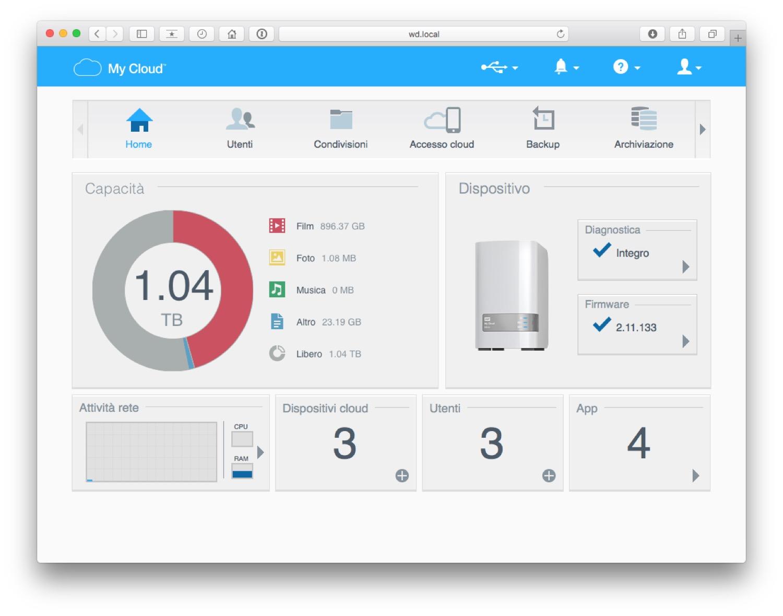 La finestra principale della pagina di configurazione del WD MyCloud