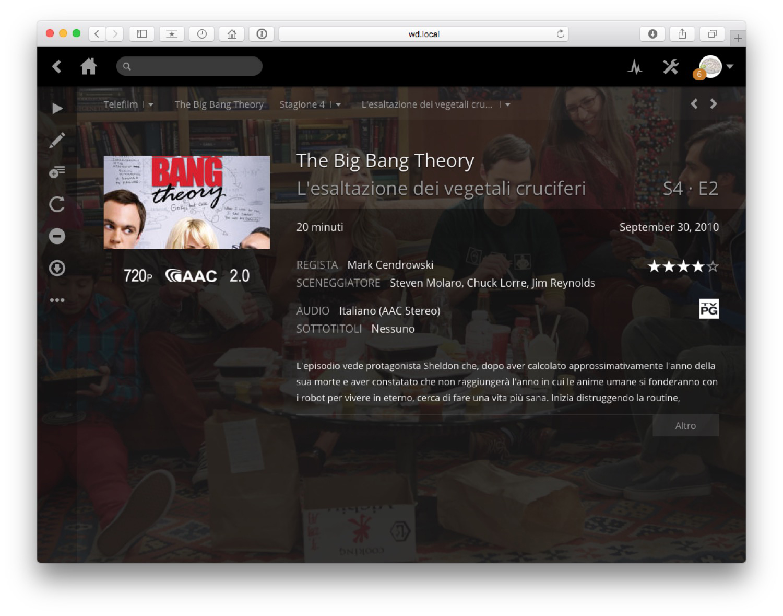 Una pagina di una libreria di Plex, in questo caso una serie TV