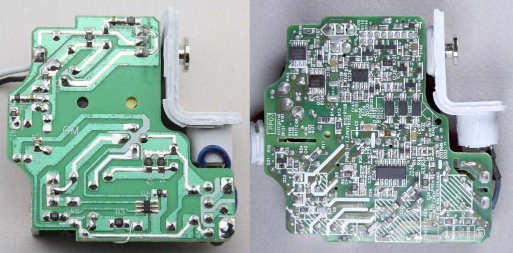 Alimentatore contraffatto (a sinistra) e originale (a destra)