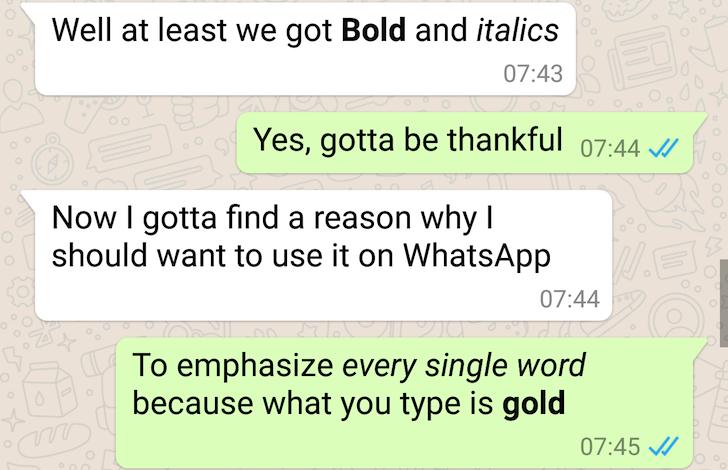 grassetto e corsivo WhatsApp