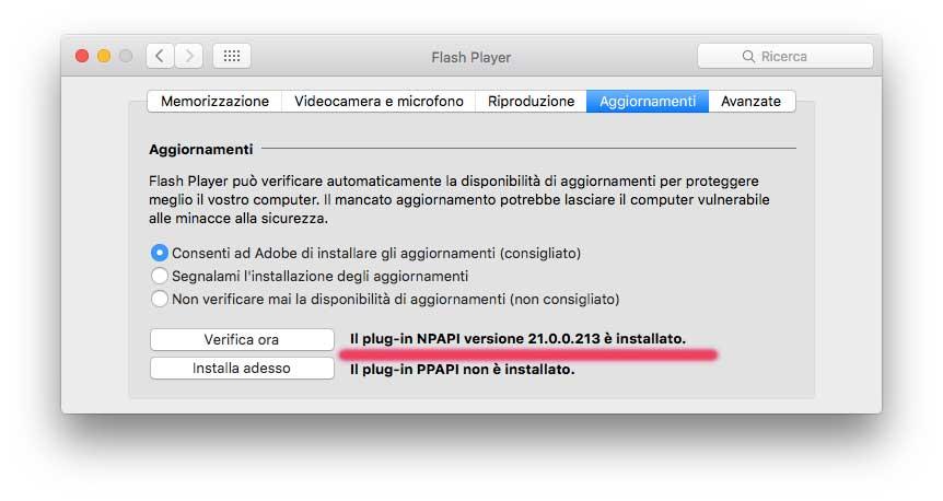 Adobe Flash Player Versione 21.0.0.213