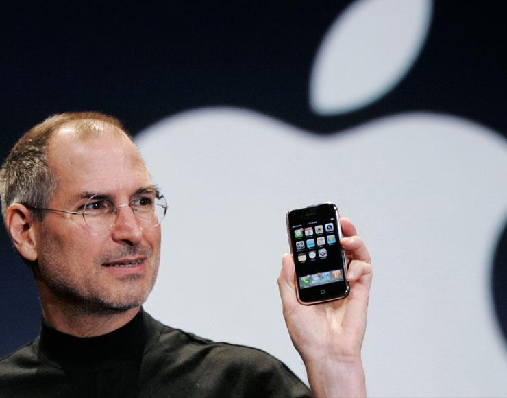 bicicletta per la mente Jobs con l'iPhone
