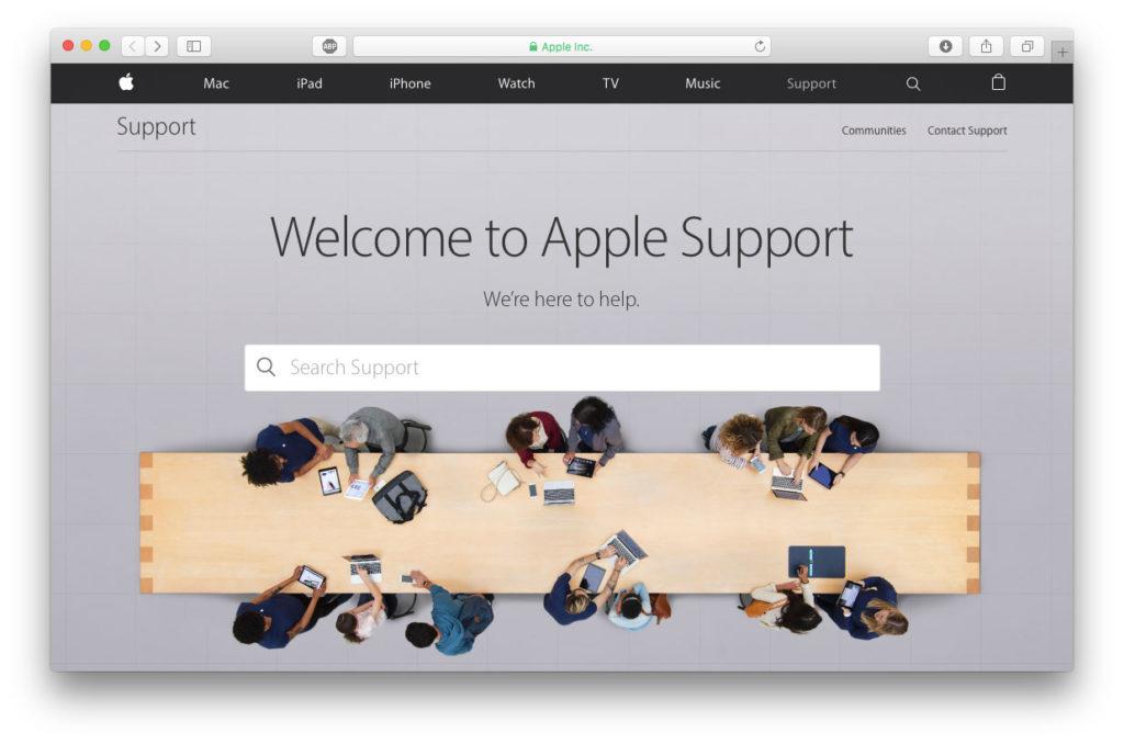 Pagina web di supporto Apple