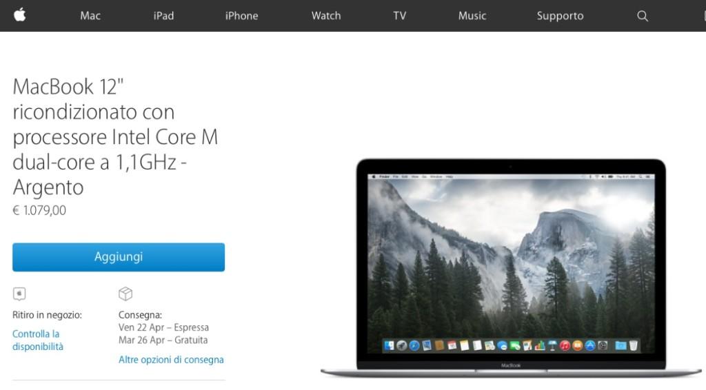 macbook 12 ricondizionato 1200 1079 euro