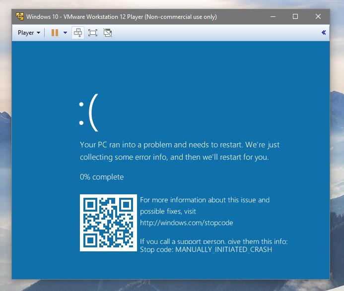 Schermata blu con QR code