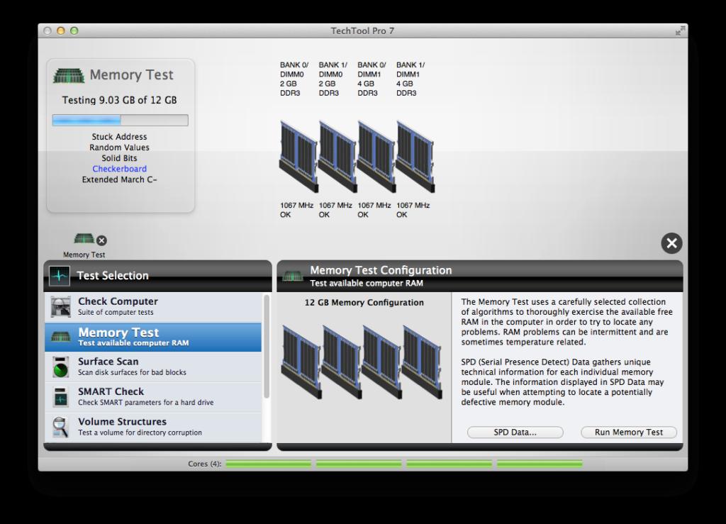 Test memoria con Tech Tool Pro