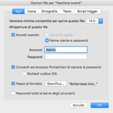 le impostazioni in Opzioni file che consentono di abilitare l'accesso attraverso Touch ID su iOS