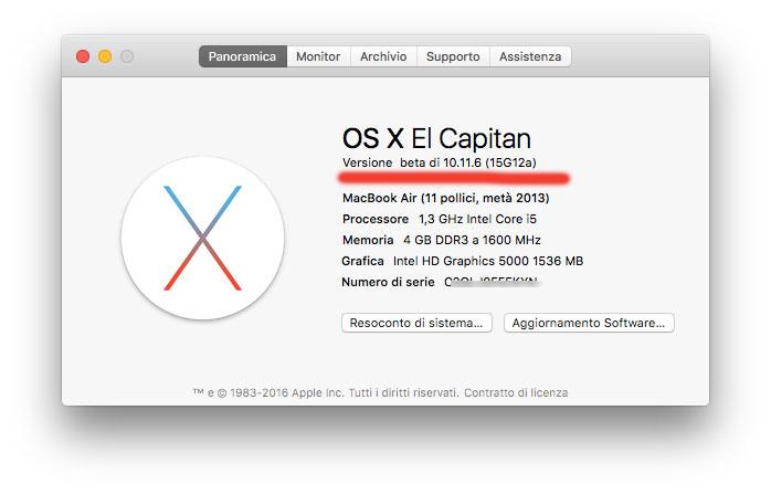Beta OS X 10.11.6