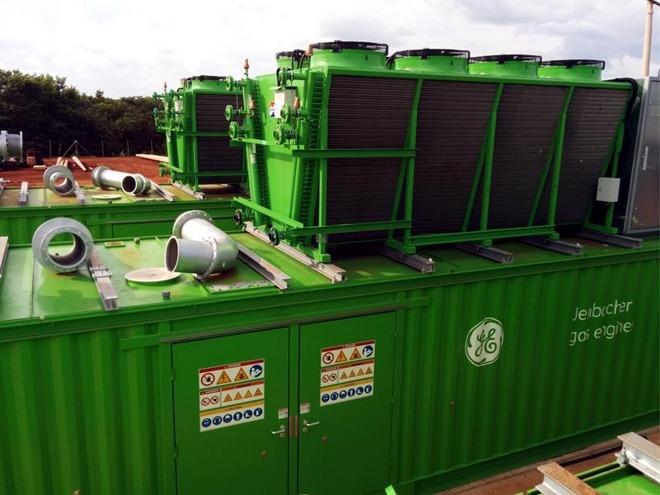 Un motore Jenbacher per la gestione delle fluttazioni nel contenuto di metano, simile a quelli usati nelle discariche controllate.