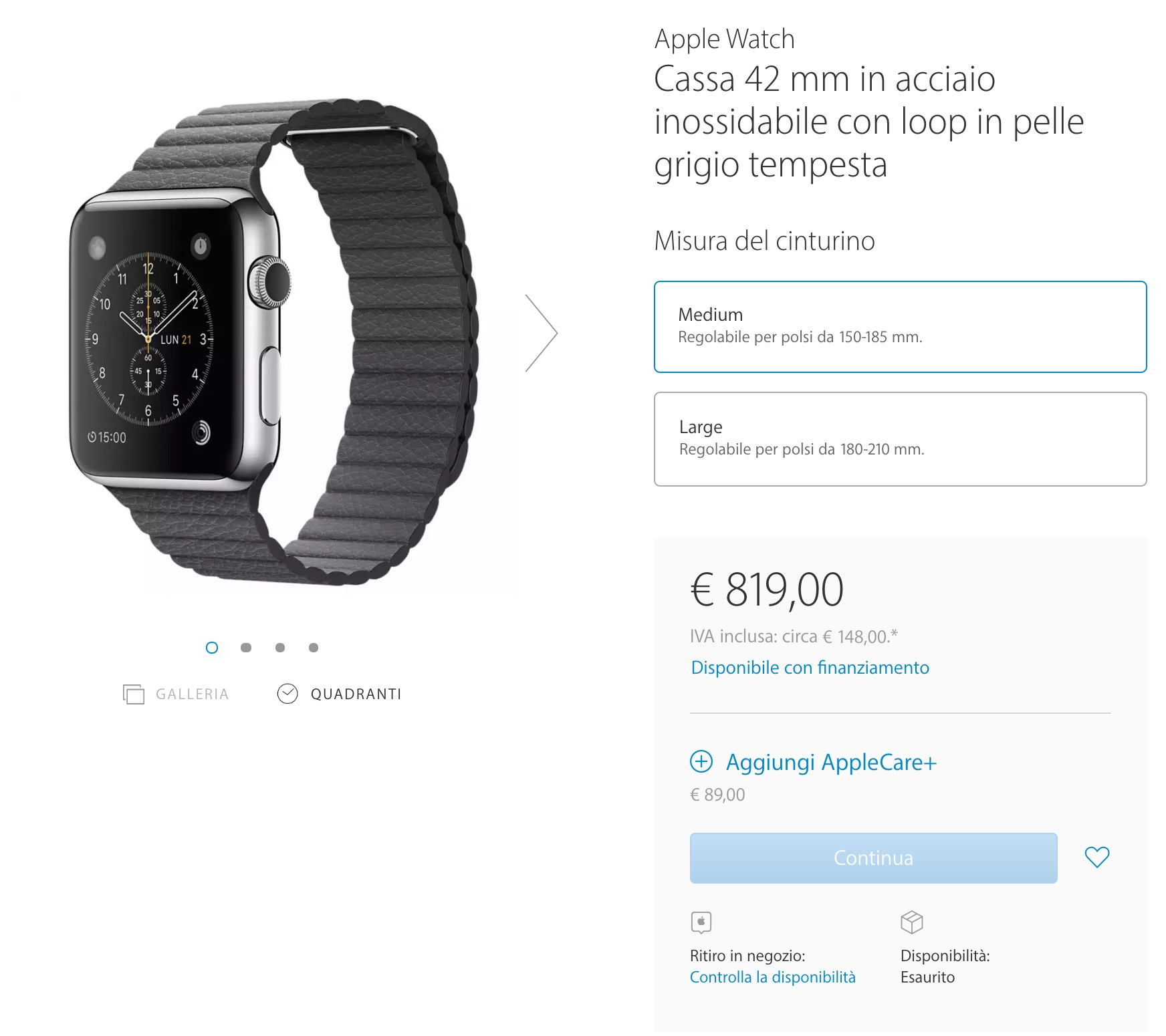 Apple Watch esaurito