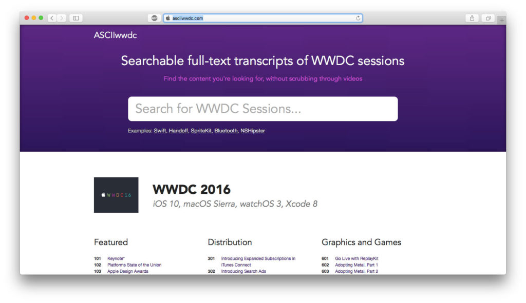 WWDC 2016 Asciiwwdc