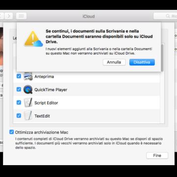 Disattivando l'opzione per sincronizzare Scrivania e Documenti sul cloud, questi saranno disponibili solo sul cloud.