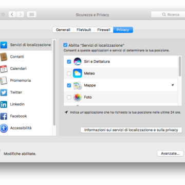 Per alcune funzioni di Siri, è necessario spuntare specifiche opzioni nella sezione Sicurezza e Privacy