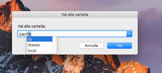 Finder di macOS Sierra VaiAllaCartella