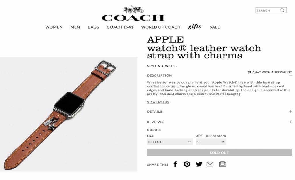 coach cinturino apple watch