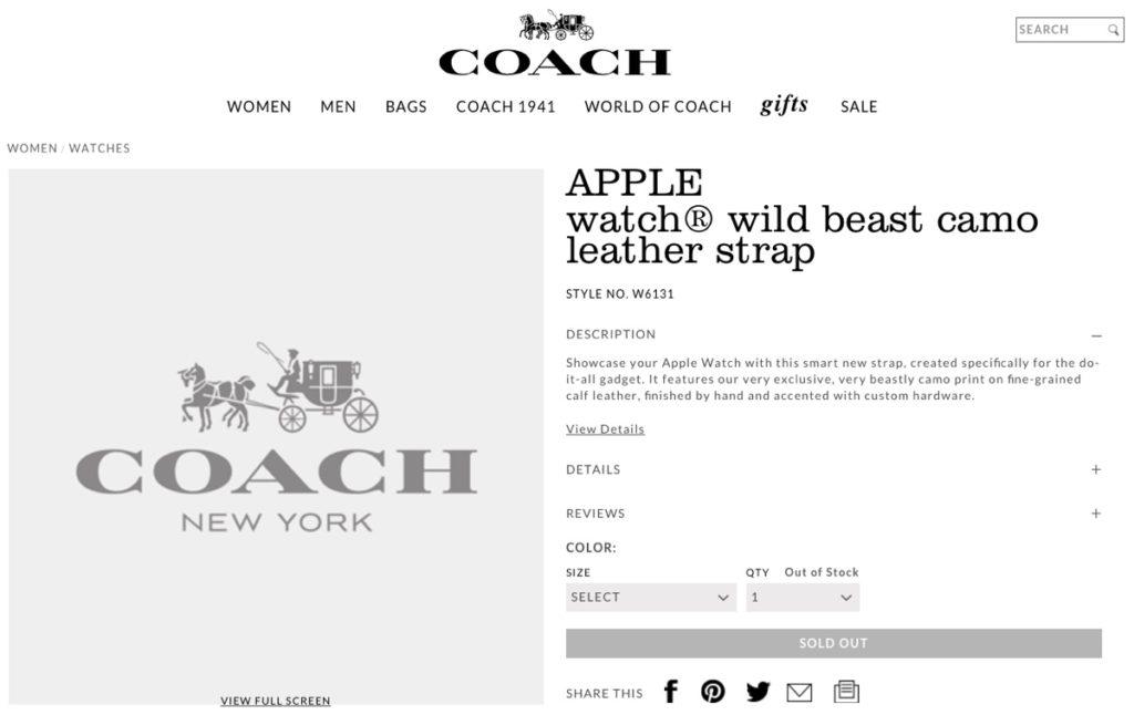 coach cinturino apple watch 5