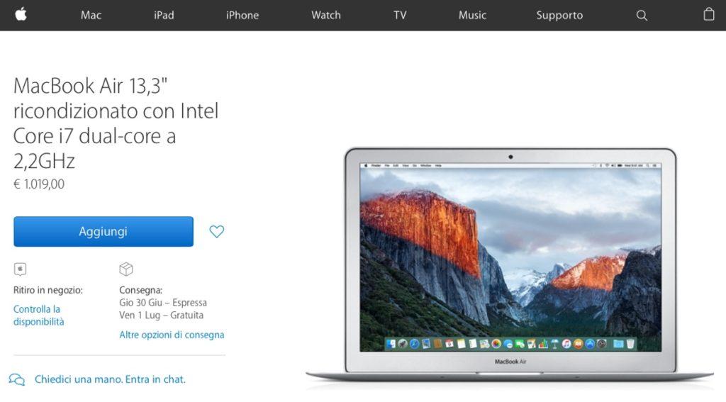 macbook air 13 ricondizionati 1200