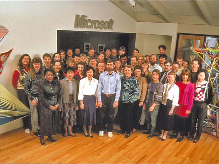 """Gli impiegati della """"Graphics Business Unit"""" di Microsoft nel 1992"""