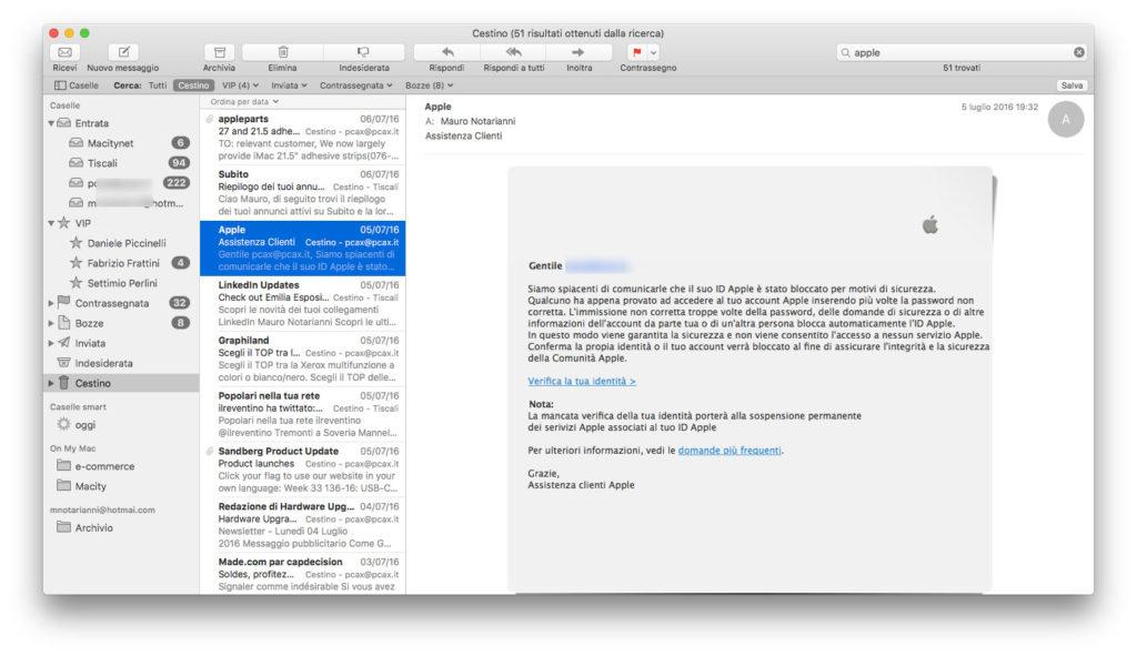 Una finta mail di Apple. Gli hacker sfruttano tecniche di ingegneria sociale invitando gli utenti a rivelare le password dei propri account.