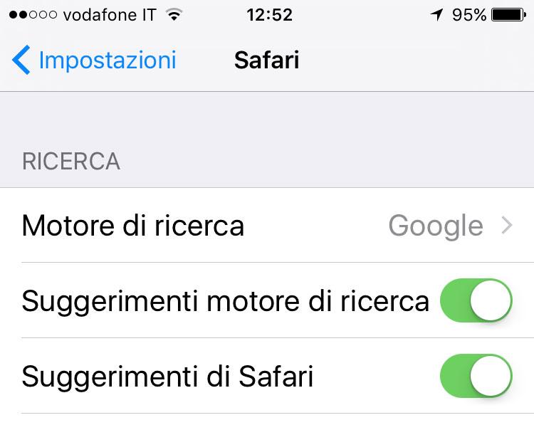 Disattivare suggerimenti su iOS
