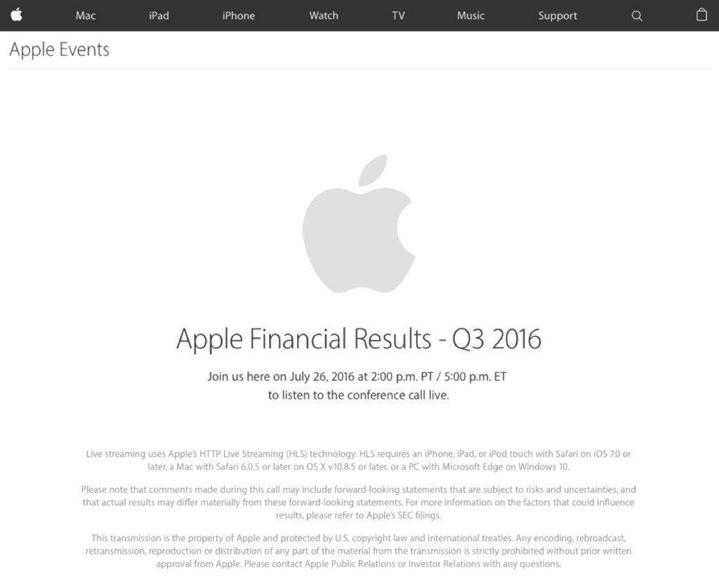risultati fiscali Q3 2016 apple