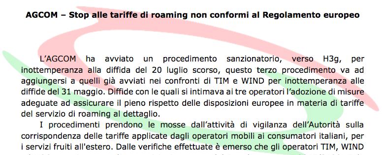 roaming agcom