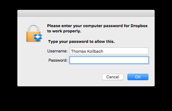 La finestra di Dropbox con la richiesta di inserimento password amministratore