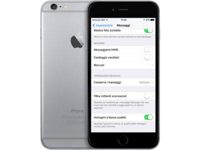 Foto ridotte con iMessage iOS 10