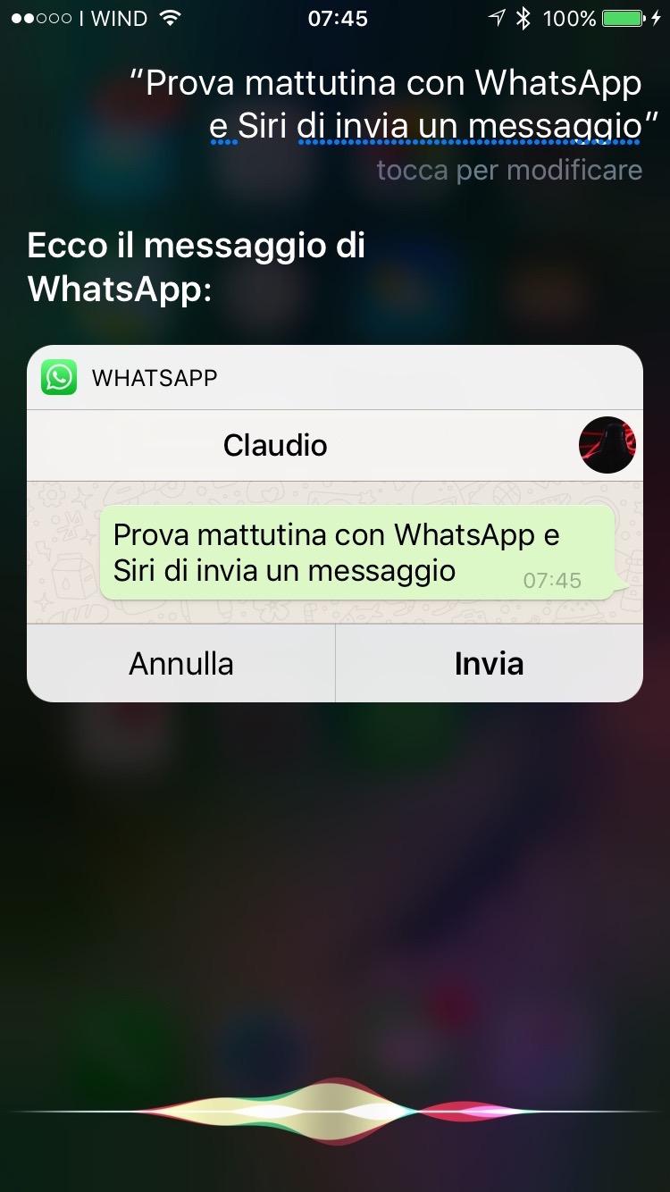 Connu Con iOS 10 Siri parla anche con Whatsapp e invia messaggi  TK14