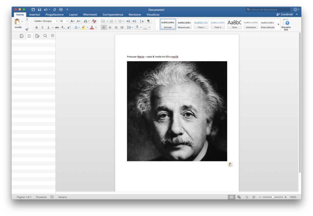 Universal Clipboard Immagine copiata negli Appunti di iOS e incollata in un documento Word su un Mac con macOS Sierra.