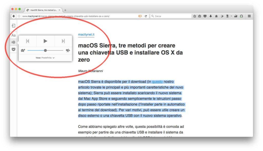 il sintetizzatore vocale di Firefox