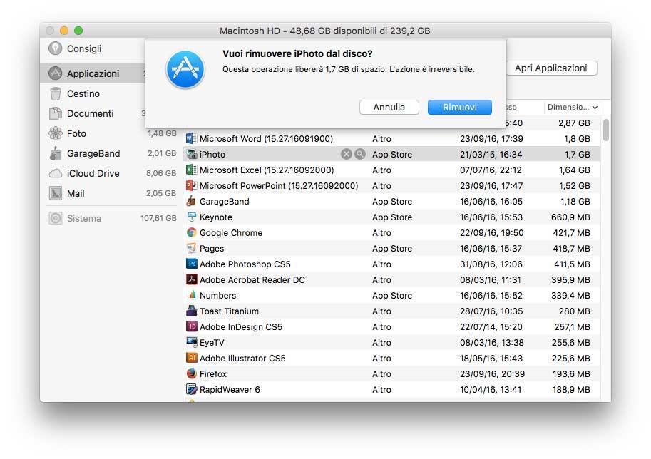 archiviazione su iCloud