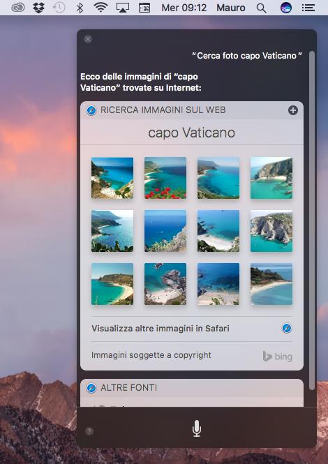 Ricerca foto in Siri su mac