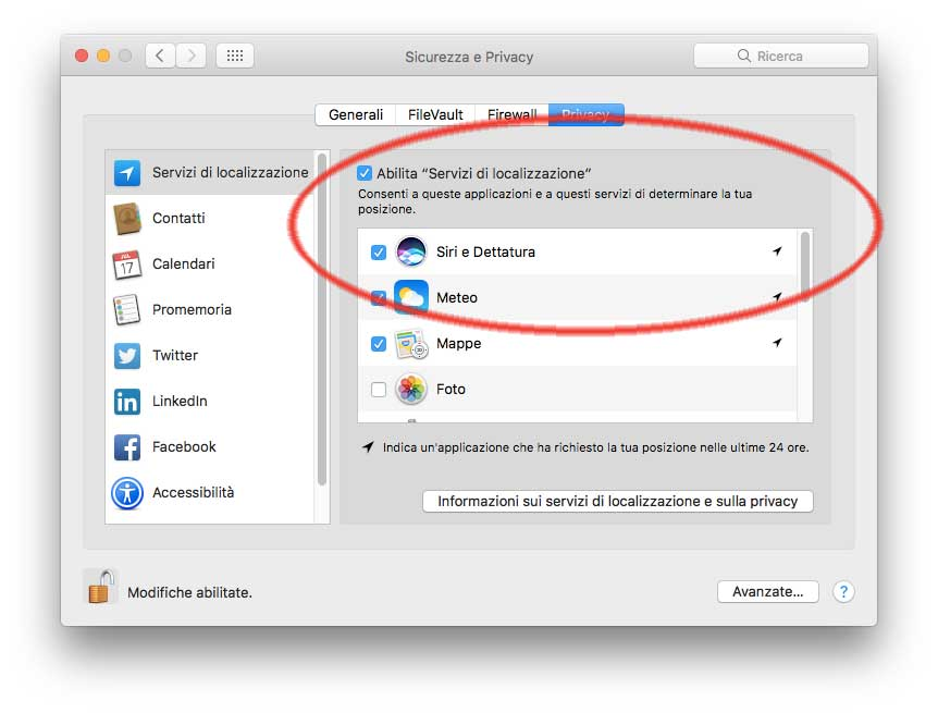 servizi di localizzazione di siri su mac
