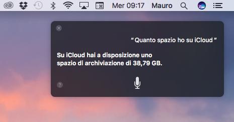 siri su mac ci dice quanto spazio abbiamo su iCloud