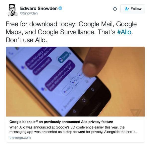 edward snowden google allo