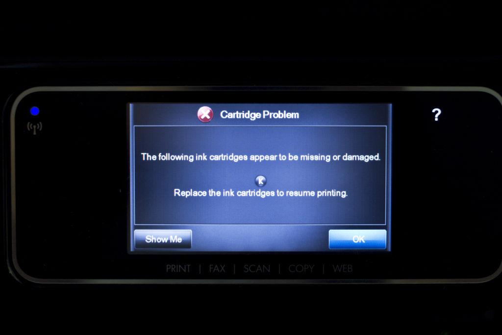 Messaggio d'errore sul display di una stampante HP