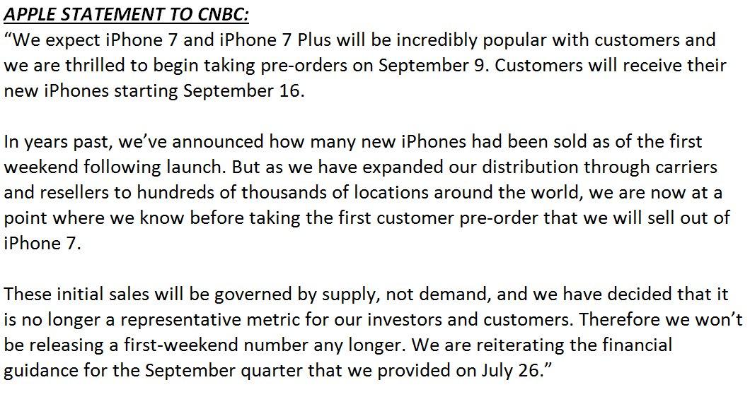 vendite iPhone 7 comunicato apple