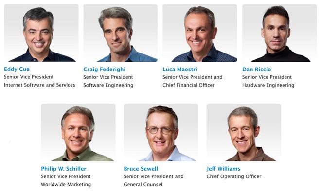 10 milioni di dollari 6 top manager apple