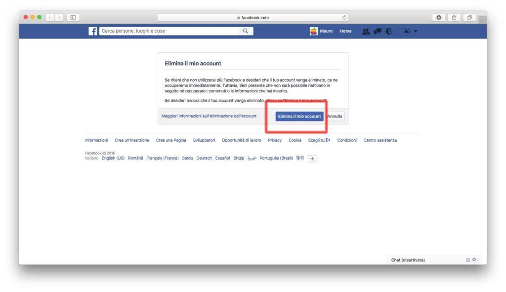Eliminare l'account Facebook