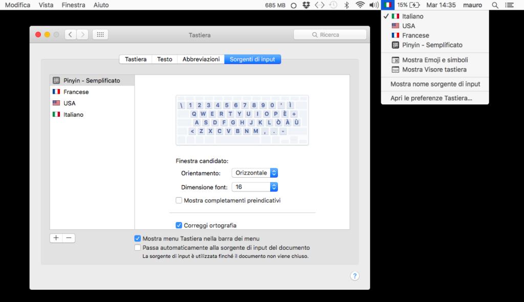 """L'opzione """"Sorgenti di input"""" in OS X 10.11 El Capitan"""