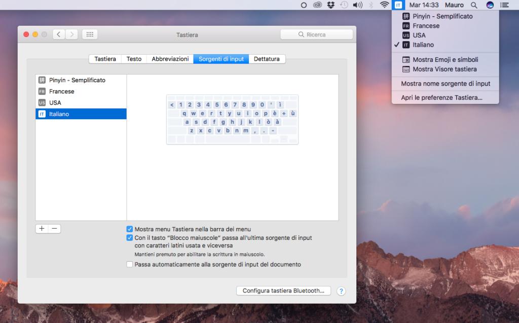 """L'opzione """"Sorgenti di input"""" nell'ultima beta di macOS Sierra"""