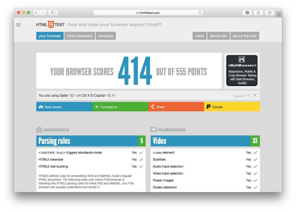 Test sul sito HTML5test usando la release 14 di Safari Technology Preview