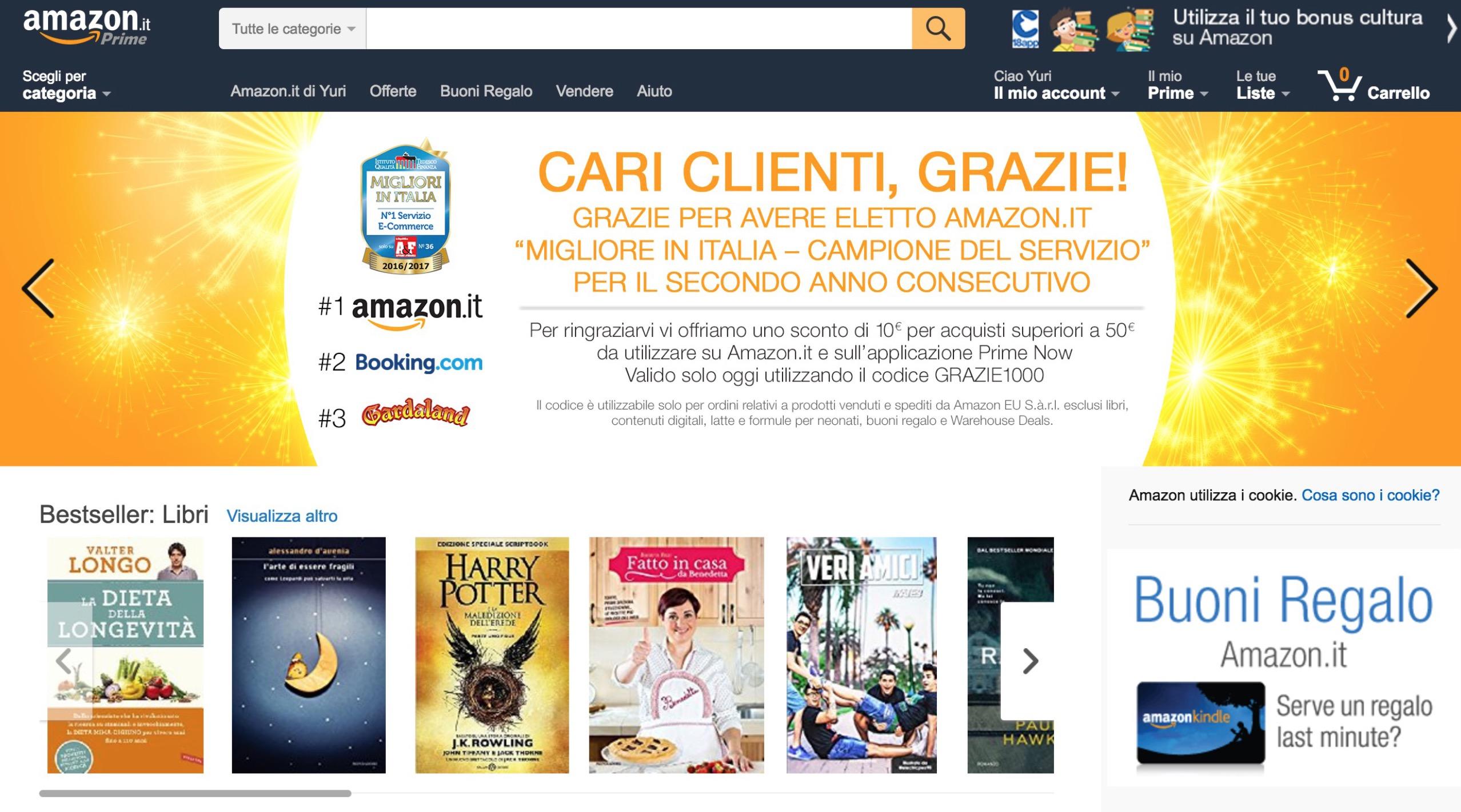 Codice amazon solo oggi sconto di 10 euro su acquisti for Codici regalo amazon