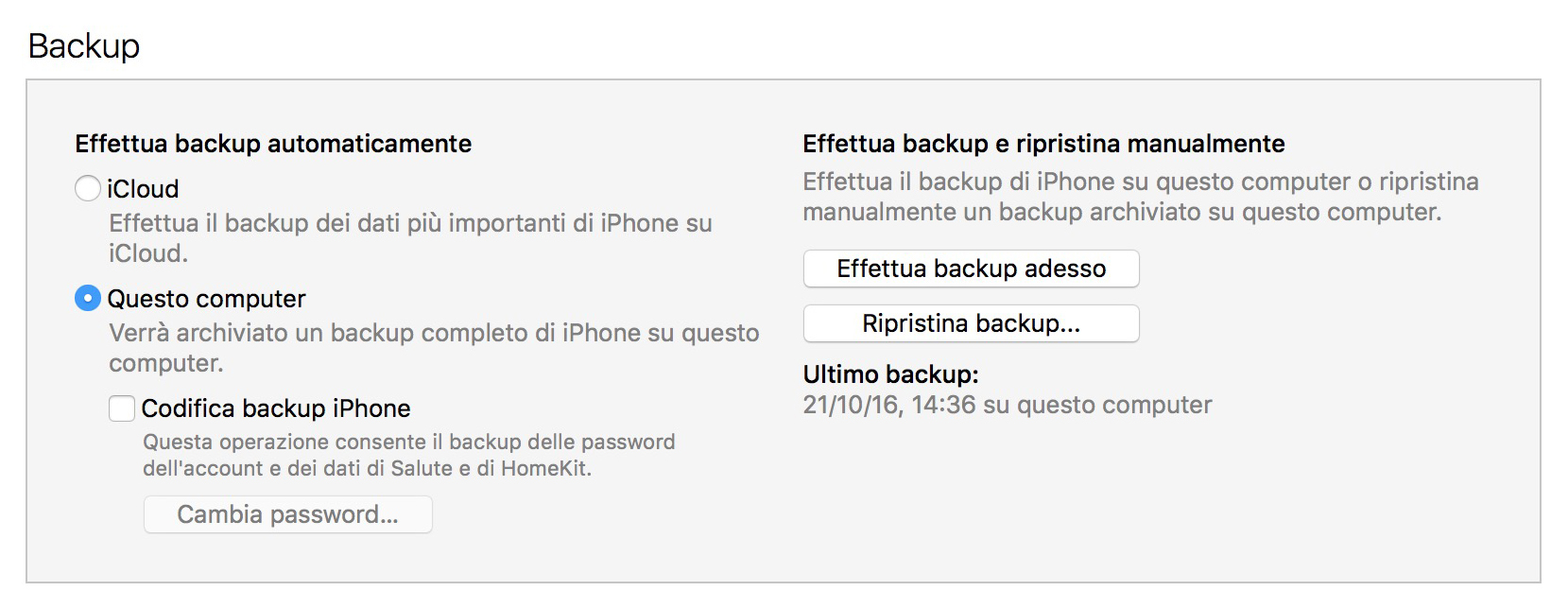 sicurezza backup iOS 10.2