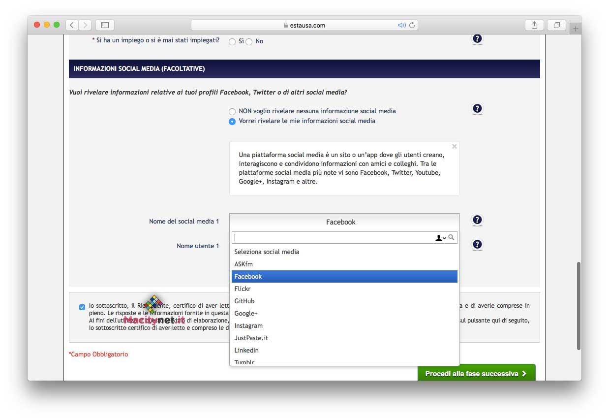 Una fase della nuova procedura per ottenere l'ESTA online